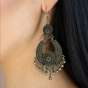 Sunny Chimes - Brass Color Earrings